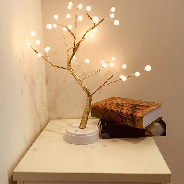 Tree LED USB Table Lamp For Home Decor Home Goods Lighting Color : Yellow