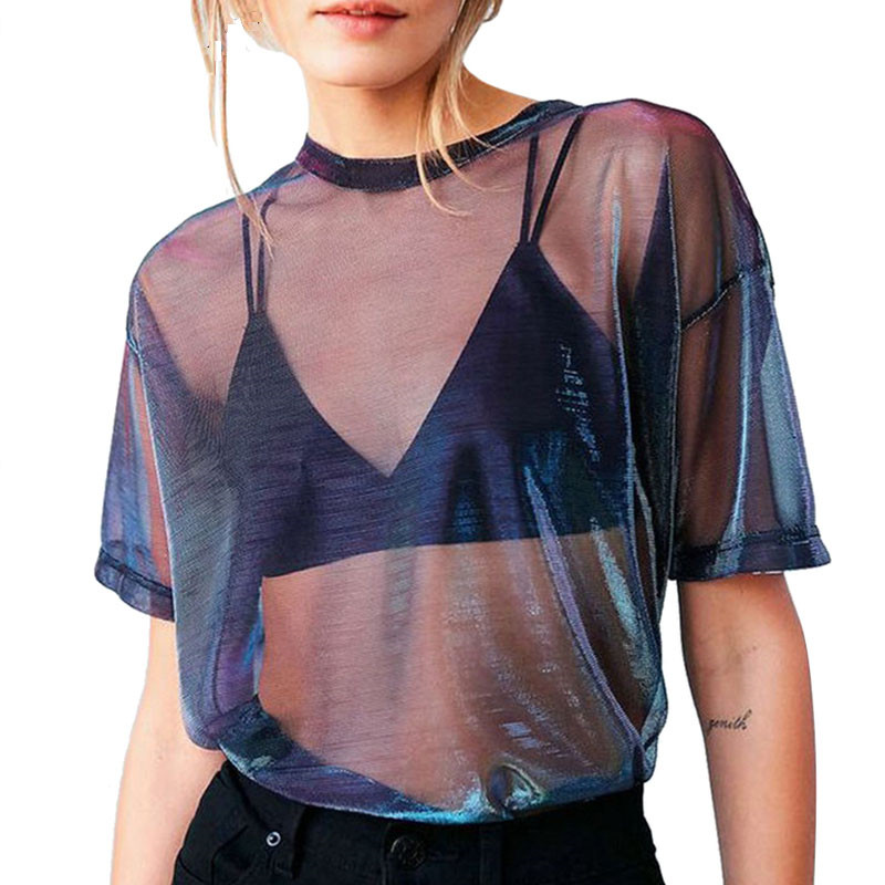 Aphrodite Home Women T-Shirt Sexy Perspective Mesh Hollow Out Lace Short Sleeve O-Neck Casual See-through Transparent Crop Tops